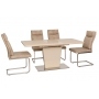 TML-555-1 обеденный стол раскладной 120-160 см беж сатин + бежевый